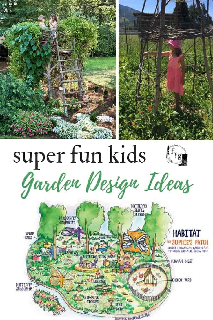 Design Ideas for a fun Kids Garden #kidsgarden #kidsgardening #childrensgarden