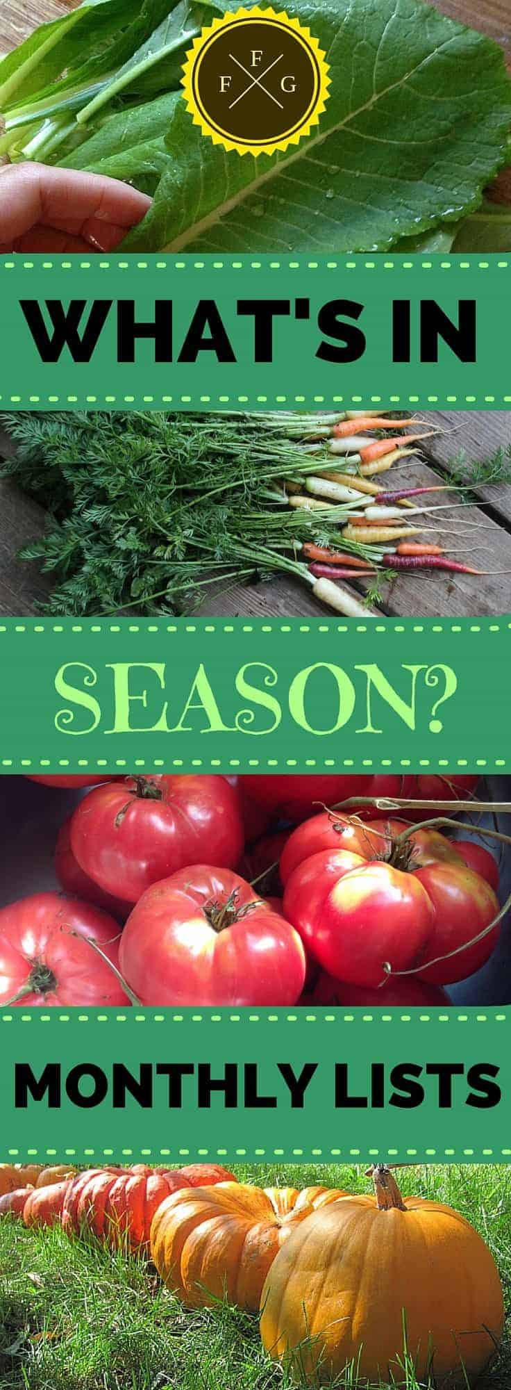 Learn what produce is in season with these montly lists