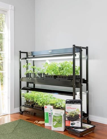 Indoor seed starting kit with grow lights & stand