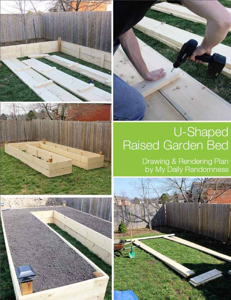 U Shaped Raised Wooden Bed Tutorial By My Daily Randomness