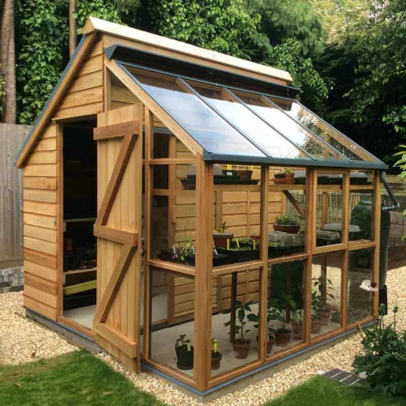 Garden design ideas: greenhouse + shed combo