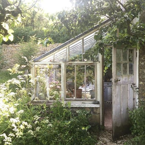 lean to greenhouse cottage garden