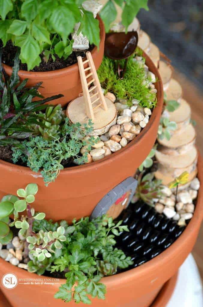 Fairy garden with pots