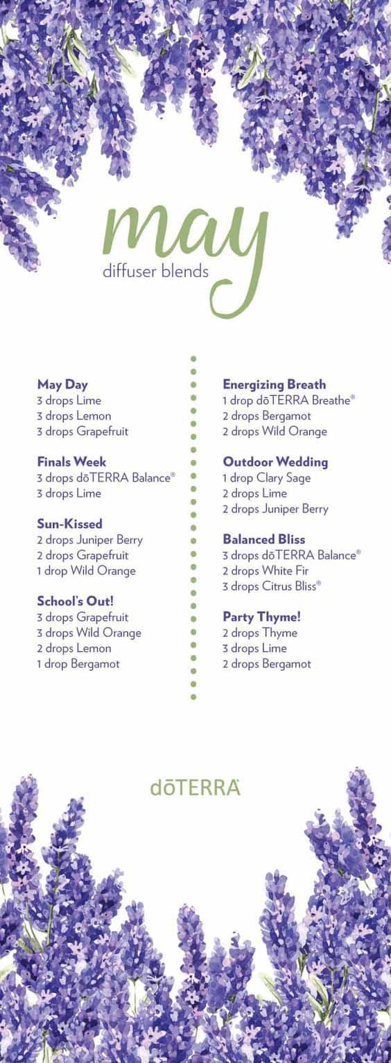 doterra diffuser blends for June and summer
