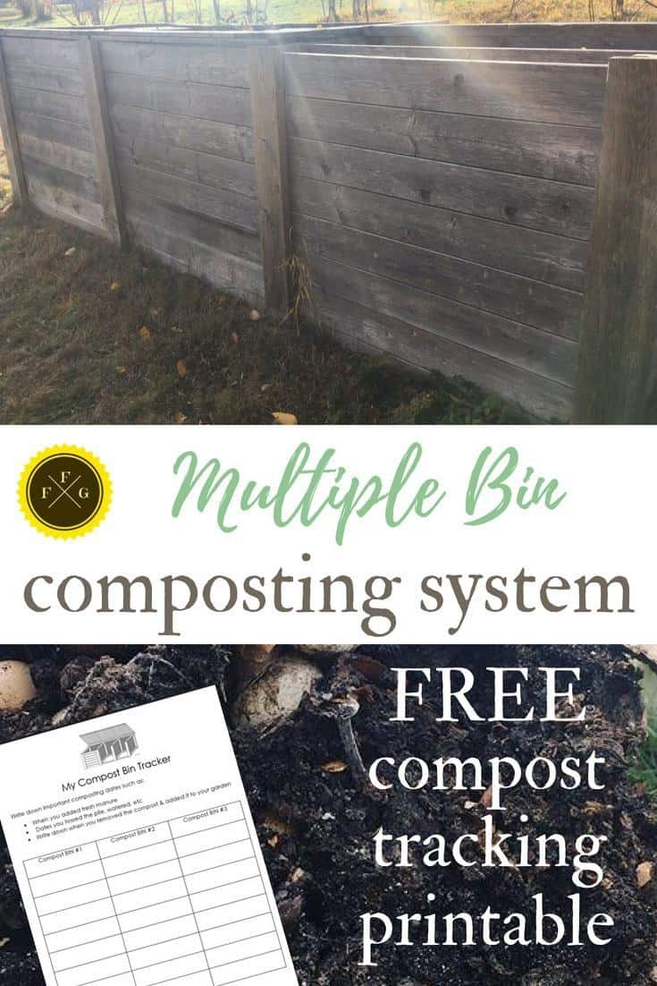 Using multiple composting bin system + FREE compost tracking printable!
