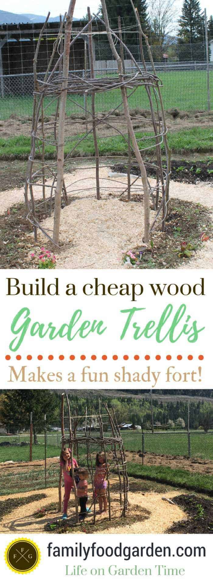 Great vertical garden design! Kids wooden playhouse. Make this cheap garden trellis weaving repurposed wooden branches