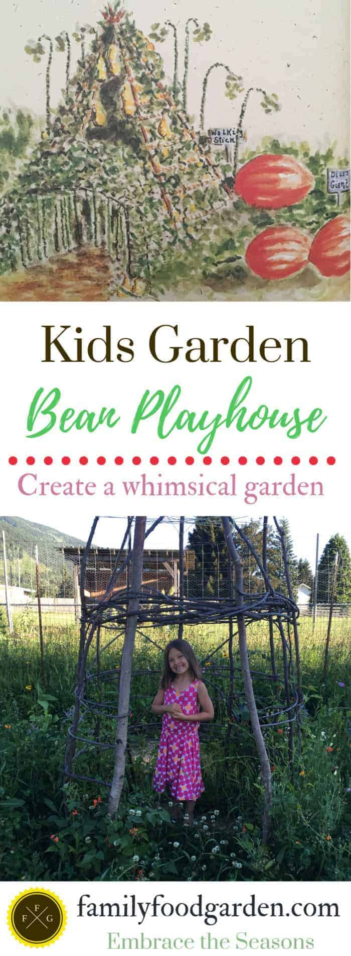 Kids garden bean playhouse