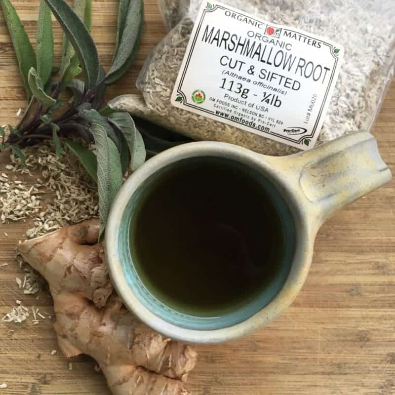 Sore throat tea with sage and marshmallow root