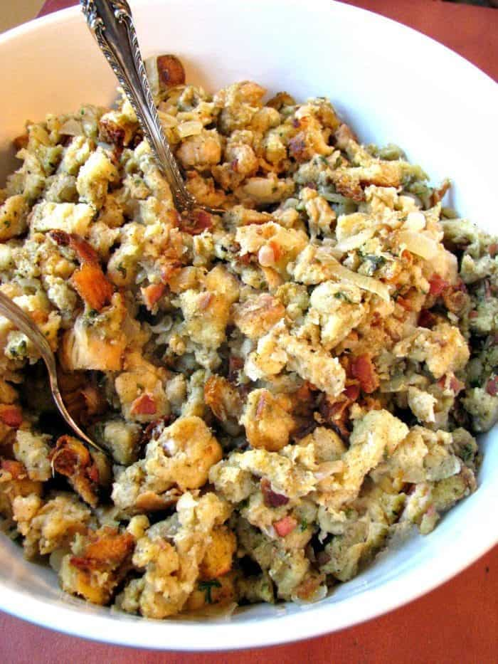 Slow cooker bacon onion sage stuffing recipe