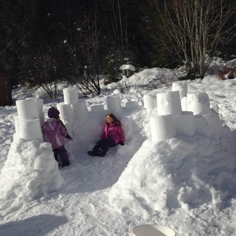 Snow fort castle- winter activities for kids