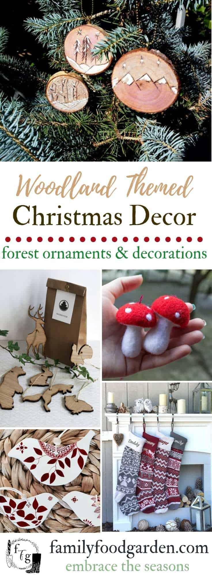 Nordic woodland Christmas ornaments #christmasdecor #christmasstockings #christmasornaments #treeornaments #christmastree #holiday #holidaydecor #nordic #woodlandchristmas