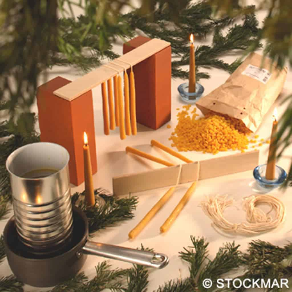 Candle making kit using beeswax