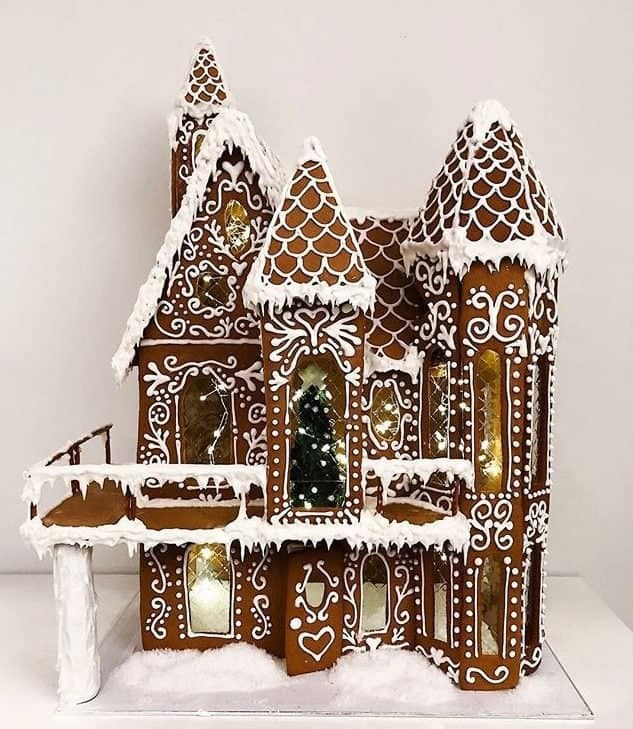 Gingerbread home with lights