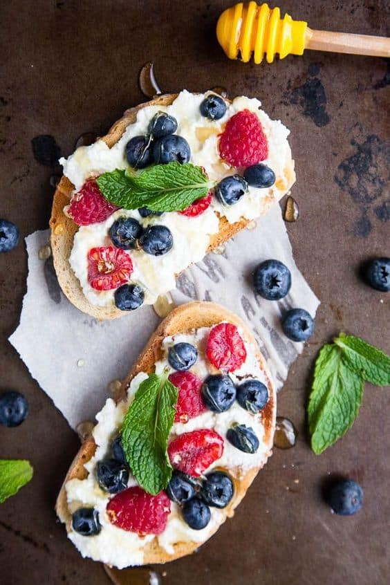 Honeyed Ricotta Toast with Berries