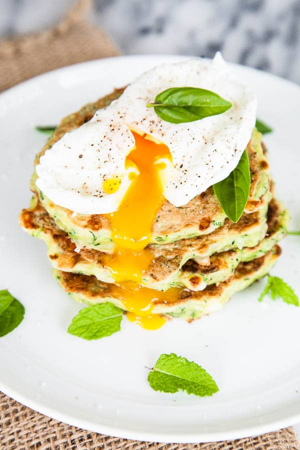 Zucchini Feta Fritters with Poached Eggs