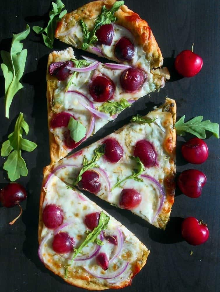 Cherry arugula flatbread pizza