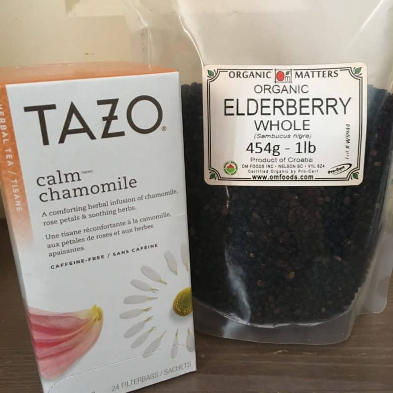 Chamomile tea and elderberry syrup are great for kids
